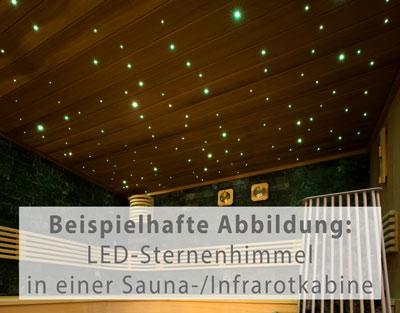 Sauna- oder Infrarotkabine beispielhaft mit LED-Sternenhimmel ausgestattet