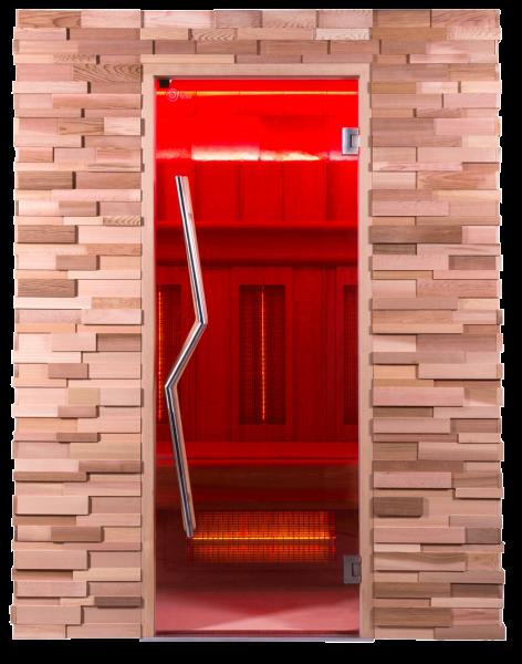 Premium Infrarotkabine von Dr. Kern mit kubistischem Außendesign in Rotzeder