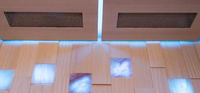 zusätzliche Infrarotstrahler in der Decke - Kombikabine Sauna